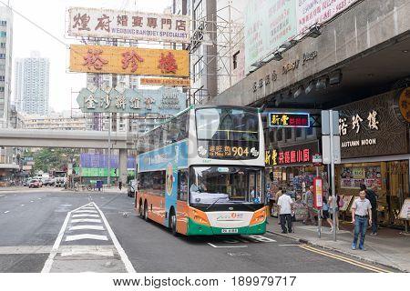 KOWLOON HONG KONG - APRIL 21 2017: Bus 904 Public Transport at Mong Kok in Kowloon Hong Kong.