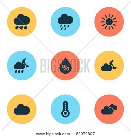 Air Icons Set. Collection Of Douche, Moonlight, Temperature And Other Elements. Also Includes Symbols Such As Temperature, Overcast, Clouds.
