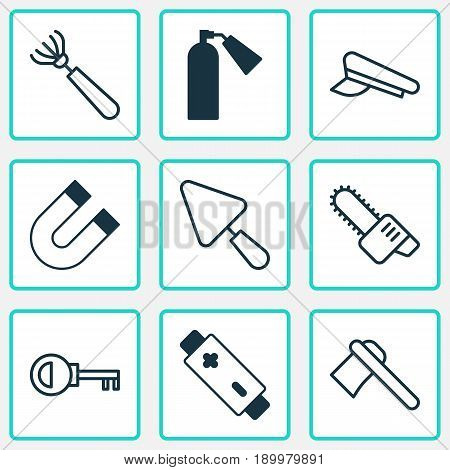 Equipment Icons Set. Collection Of Putty, Tomahawk, Cop Cap And Other Elements. Also Includes Symbols Such As Password, Cop, Chainsaw.