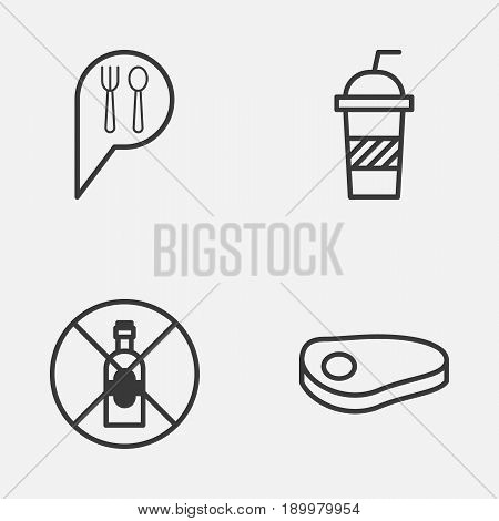 Icons Set. Collection Of Check In, Soda, No Drinking And Other Elements. Also Includes Symbols Such As Soda, Beef, Steak.