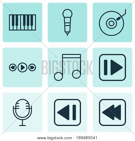 Multimedia Icons Set. Collection Of Microphone, Mike, Rewind Back And Other Elements. Also Includes Symbols Such As Synthesizer, Music, Microphone.