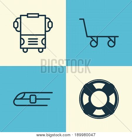 Shipping Icons Set. Collection Of Cargo Cart, Lifebuoy, Transport And Other Elements. Also Includes Symbols Such As Rescue, Train, Railway.