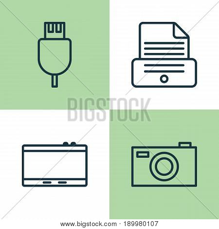 Icons Set. Collection Of Digital Camera, Gadget, Universal Serial Bus And Other Elements. Also Includes Symbols Such As Gadget, Plug, Camera.