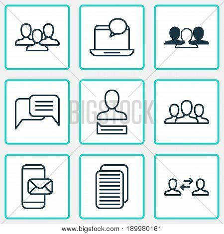 Communication Icons Set. Collection Of Mail Notification, Team, Society And Other Elements. Also Includes Symbols Such As Group, Interaction, Audence.