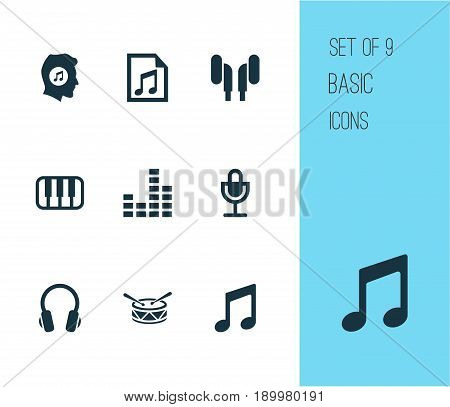 Multimedia Icons Set. Collection Of Equalizer, Music, Mike And Other Elements. Also Includes Symbols Such As Playlist, Sound, Music.
