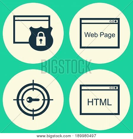 SEO Icons Set. Collection Of Coding, Website, Keyword Marketing And Other Elements. Also Includes Symbols Such As HTML, Code, Security.
