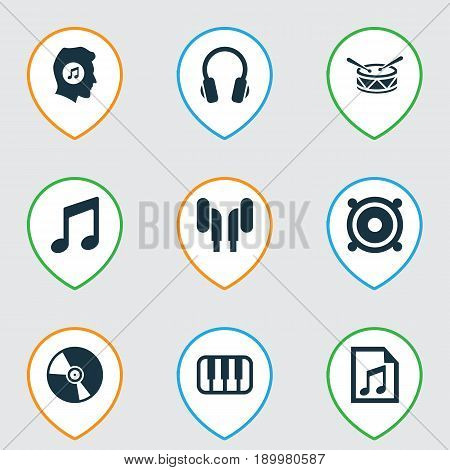 Multimedia Icons Set. Collection Of Octave, Cd, Music And Other Elements. Also Includes Symbols Such As Loudspeaker, Piano, Headset.