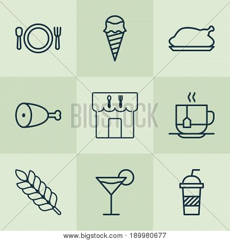 Restaurant Icons Set. Collection Of Cutlery, Restaurant, Chicken Fry And Other Elements. Also Includes Symbols Such As Chicken, Cream, Wheat.