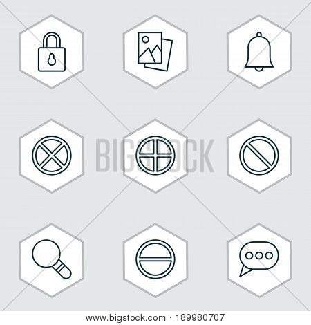 Network Icons Set. Collection Of Message Bubble, Refuse, Alert And Other Elements. Also Includes Symbols Such As Cancel, Remove, Message.