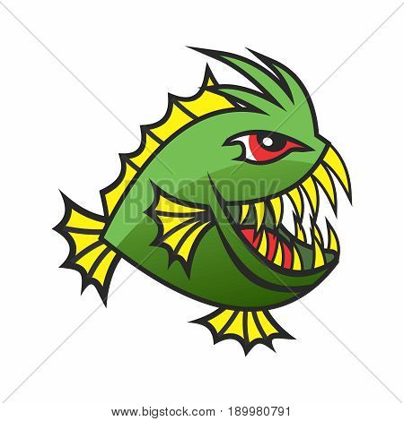 Vector Cartoon Ugly Exotic Abstract Piranhas Monster Fish with Long Teeth