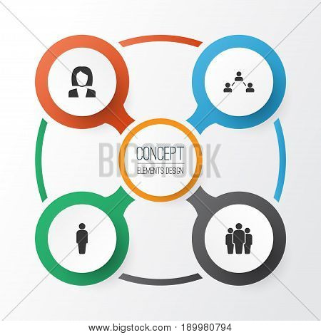 Human Icons Set. Collection Of Businesswoman, Group, Member And Other Elements. Also Includes Symbols Such As Network, User, Businesswoman.