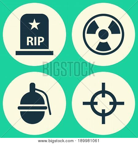 Warfare Icons Set. Collection Of Bombshell, Dangerous, Target And Other Elements. Also Includes Symbols Such As Shot, Tomb, Target.