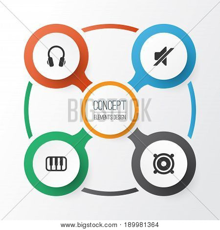 Audio Icons Set. Collection Of Earphone, Megaphone, Silence And Other Elements. Also Includes Symbols Such As Piano, Keyboard, Loudspeaker.