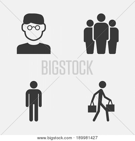 Human Icons Set. Collection Of Group, Delivery Person, Gentleman And Other Elements. Also Includes Symbols Such As Mister, Scientist, Man.