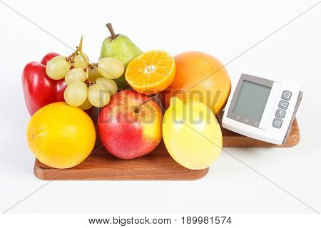Blood Pressure Monitor And Fresh Fruits With Vegetables, Concept Of Healthy Lifestyle