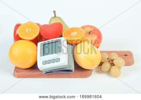 Vintage Photo, Blood Pressure Monitor And Fruits With Vegetables, Concept Of Healthy Lifestyle
