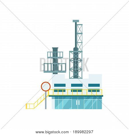 Industrial factory isolated icon. Modern plant, manufactory technology building vector illustration in flat design.