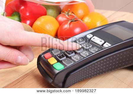 Using Payment Terminal, Fruits And Vegetables, Enter Personal Identification Number