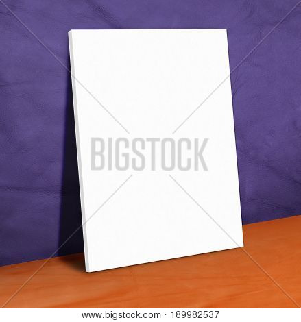 Blank white paper poster on purple leather wall and orange floorMock up to display or montage of your content.