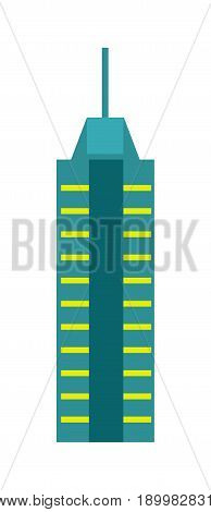 Urban skyscraper isolated icon. Commercial real estate, multi storey building, business architecture design vector illustration.