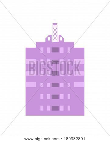 Commercial real estate isolated icon. Modern skyscraper, multi storey building, business architecture design vector illustration.