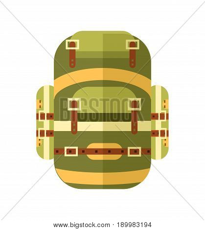 Camping and travel backpack icon vector illustration isolated on white background. Tourist back pack in flat design. Camp and hike bag and knapsack.