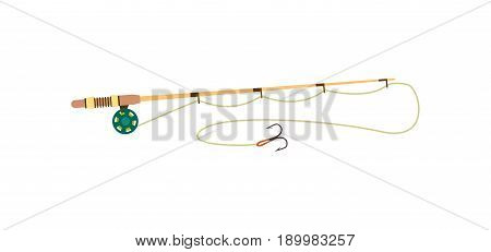 Fishing rod icon in flat style. Catch and hobby, sport equipment vector illustration isolated on white background.