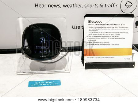 New York June 1 2017: Ecobee - smart thermostat with Amazon Alexa sits on display at a newly opened Amazon Books store in Time Warner Center.