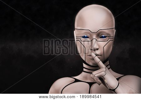 Portrait of a mysterious cyborg woman on a dark background. 3D rendering illustration