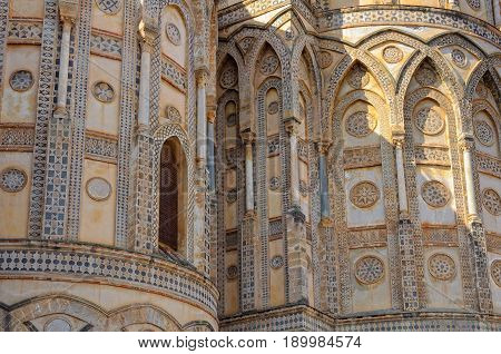 Geometric decorations on the exterior of the apse of the Metropolitan Cathedral - Monreale Sicily Italy