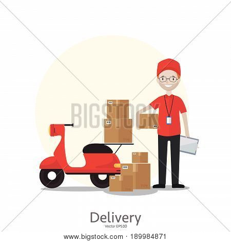 Cartoon delivery man in red uniform with motorbike