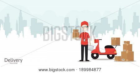 Cartoon delivery man in red uniform with motorbike - web banner with copy space