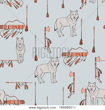 Seamless pattern with American Indian  sketches.  Hand drawn elements. Vector Illustration