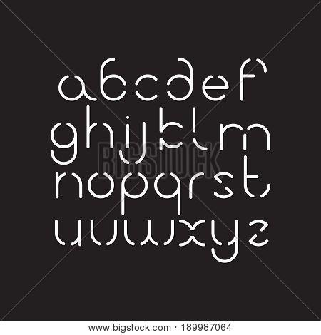 Elegant line orbed font. Circle latin regular alphabet. White thin letters on a black background.