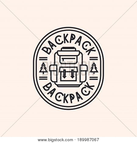 Backpack logo consisting of packsack and fir tree line style isolated on background for camping emblem, tourist symbol, travel badge, hiking sticker, expedition label, poster, banner, design t-shirt