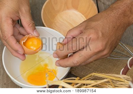 Scrambled Eggs Preparation. Broken Eggshells On Table