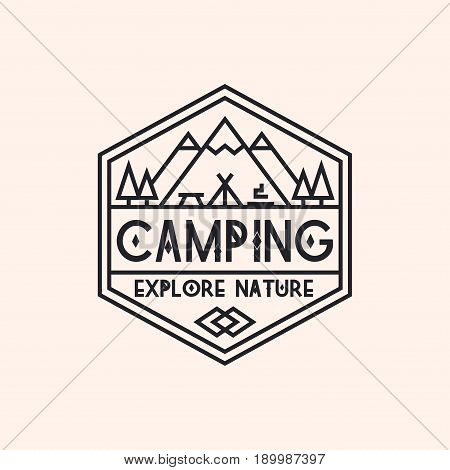 Camping logo consisting of mountains, camp and trees line style isolated on background for explore emblem, hiking sticker, tourist symbol, travel badge, expedition label, poster, banner, t-shirt