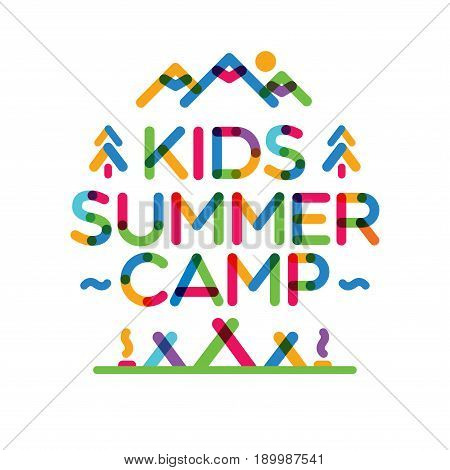 Kids summer camp card with nature landscape consisting of mountains, trees, tent and campfire color line style for holiday party, kids camping, fest etc. Vector Illustration