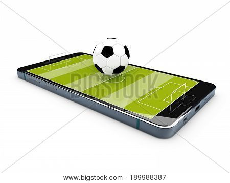 Football field on the smartphone screen, 3d illustration.