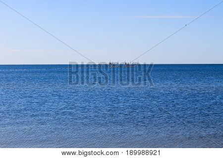Seascape with the fishing nets on horison