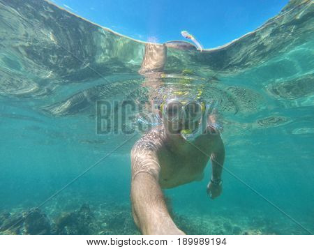 Male scuba diver with mask underwater