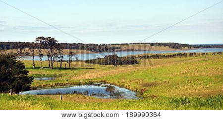 Central Tilba in its idyllic setting near Narooma. Autumn scene in rural New South Wales Australia. Farmland fields trees ponds and hills. poster