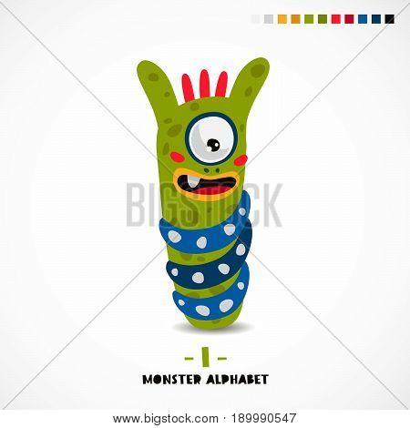 Monster alphabet. Letter I. A strange animal. Vector illustration on white background. Great children's print. The concept of a kid's toy.