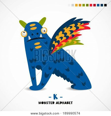 Monster alphabet. Letter K. Strange animal. Vector illustration on white background. Great children's print. The concept of a kid's toy.