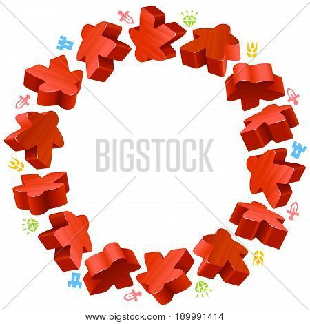 Circle frame of red meeples for board games. Game pieces and resources counter icons isolated on white background. Vector border for design boardgames advertisement or template of geek t-shirt print