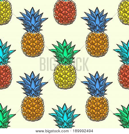 Seamless pattern with ink hand-drawn multicolored pineapples on light background . Vector illustration