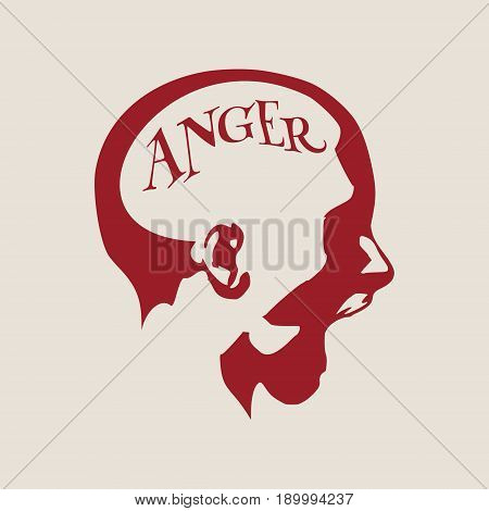 Human emotions expression vector illustration. Isolated avatar of the expressions face. Emotional head illustration. Shout of despair. Anger text