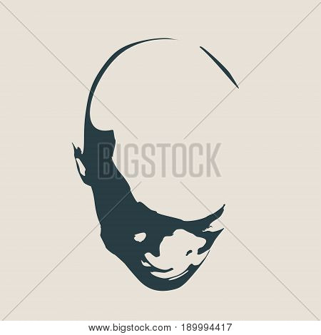 Face front view. Elegant silhouette of a female head. Vector Illustration. Monochrome gamma.