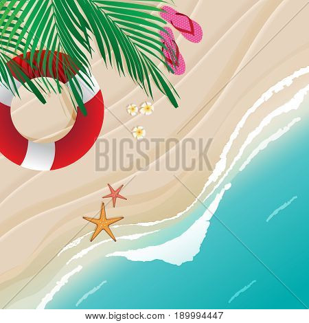 Top view of beach scene with coconut leaves flowers lifebuoy starfishes and sandals. Vector illustration of seascape.