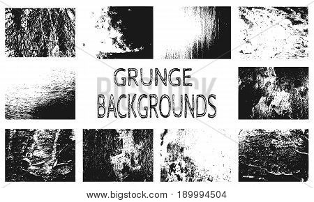 Relief stone surface texture. Old concrete wall. Monochrome image. Grunge distress texture. Vector template. Distress backgrounds collection